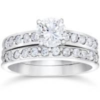 1 carat Genuine Diamond Engagement Matching Wedding Ring ...