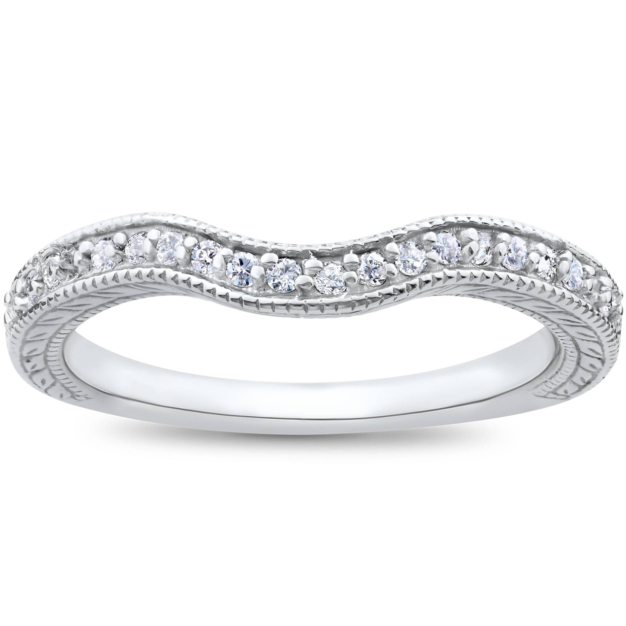Vintage Curved Diamond Contour Wedding Ring For Engagement