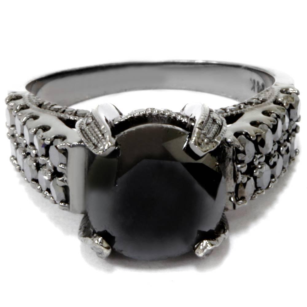 5 1/4ct Treated Black Diamond Engagement Ring 14K Black