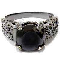 5 1/4ct Treated Black Diamond Engagement Ring 14K Black ...