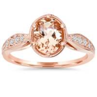 1ct Vintage Morganite & Diamond Ring 14K Rose Gold - Tanga