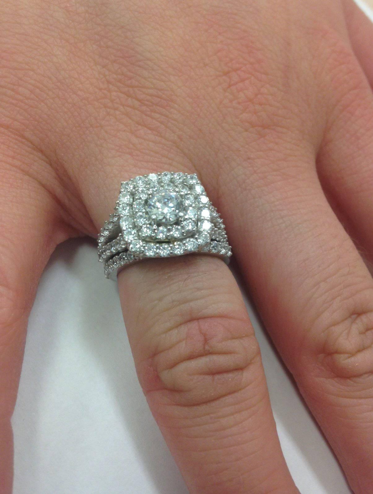 2 Carat Diamond Cushion Halo Engagement Wedding Ring Set