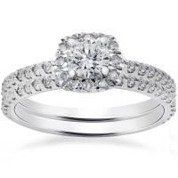 1ct Cushion Halo Lab Created Diamond Engagement Wedding ...