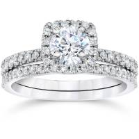 5/8Ct Cushion Halo Real Diamond Engagement Wedding Ring ...