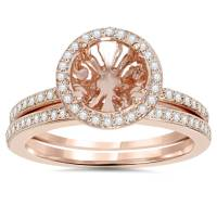 1/3Ct Rose Gold Halo Diamond Engagement Ring Setting ...