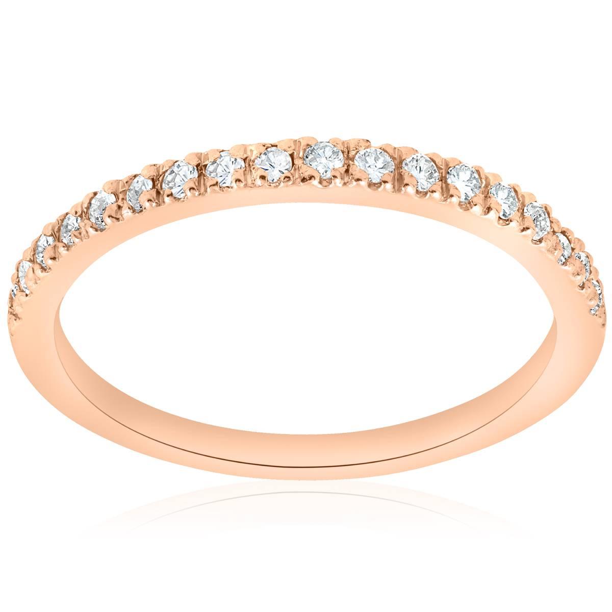 1/4ct Diamond Ring 14K Rose Gold Womens Diamond Wedding