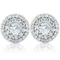 Double Halo Diamond Studs 1/2 Carat TW 14K White Gold