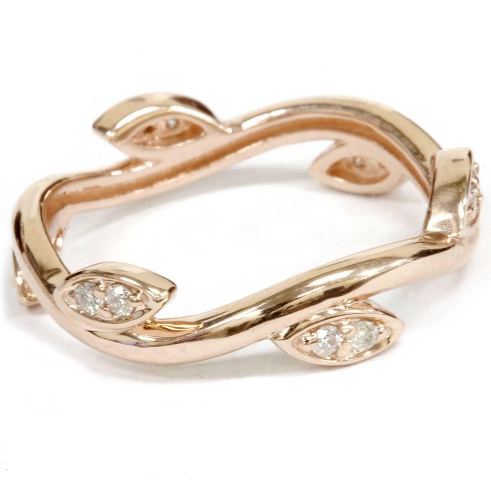 1/8Ct Diamond Vine Vintage Antique Leaf Ring 14K Rose Gold