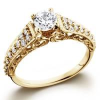 5/8ct Vintage Diamond Engagement Ring 14K Yellow Gold