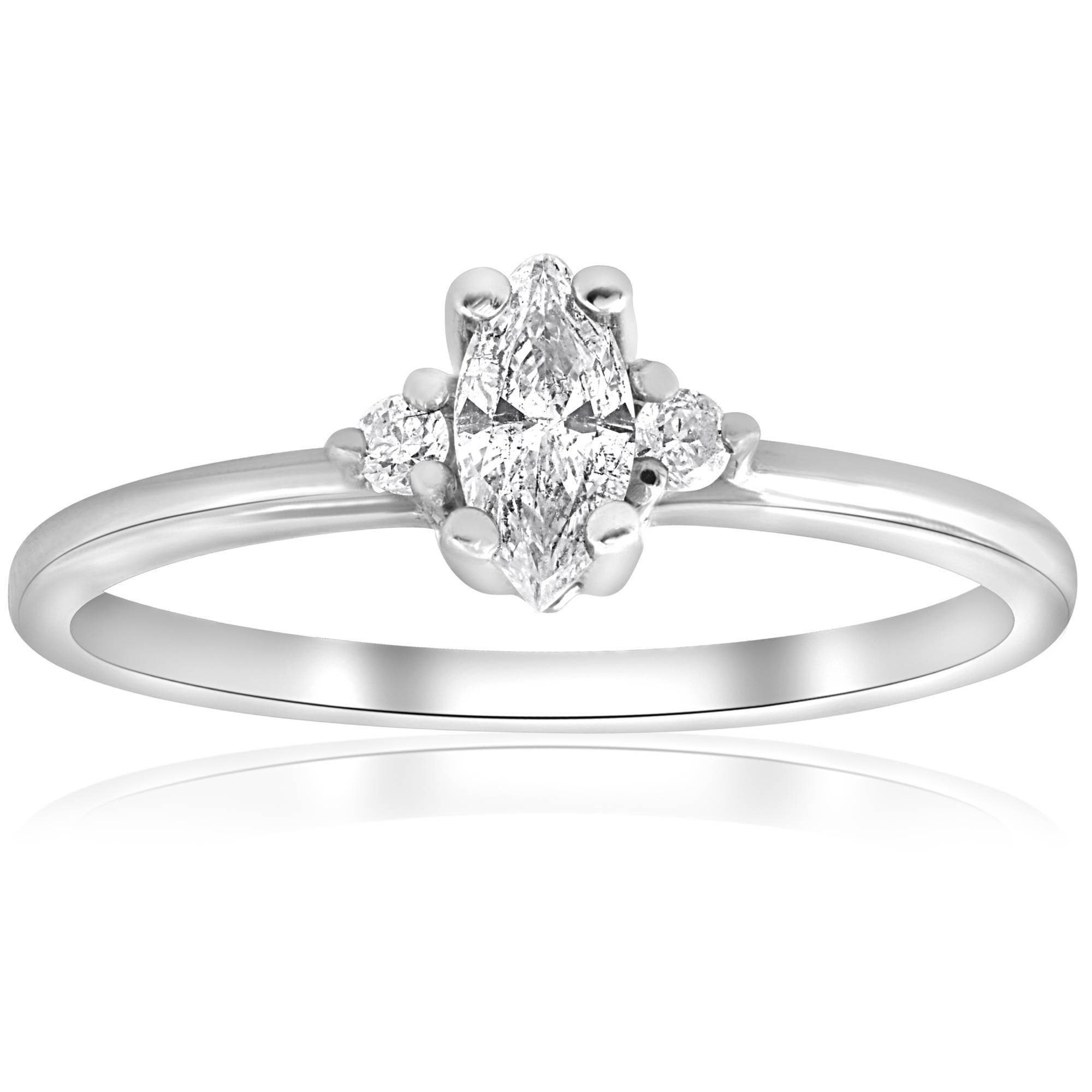 Marquise Diamond Three Stone Engagement Ring 1/3 ct 10k