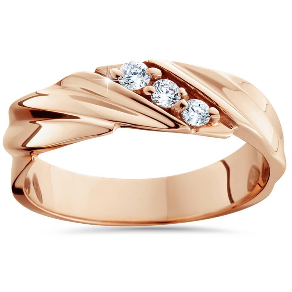 1/10ct Diamond 14K Rose Gold Mens Wedding Ring