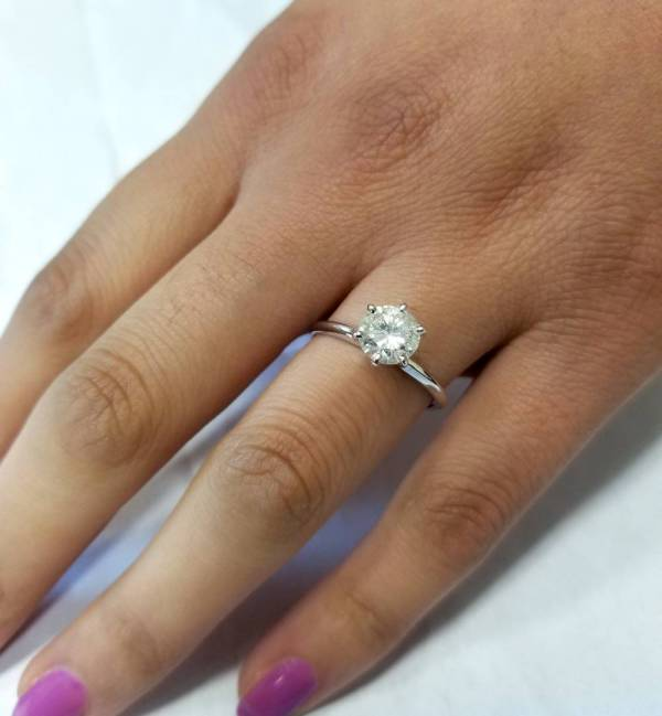 1ct Round Enhanced Diamond Solitaire Engagement Ring 14K