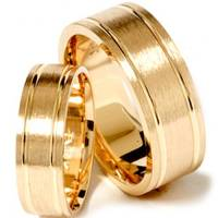 Matching His Hers 14K Yellow Gold Brushed Wedding Ring ...