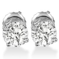 1ct Round Diamond Stud Earrings in 14K White Gold with ...