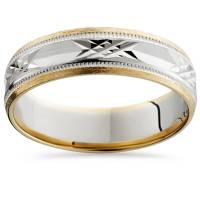Mens 14K White & Yellow Gold Two Tone 6mm Wedding Band ...