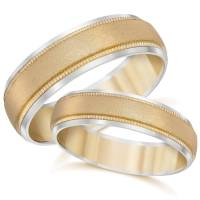 Gold Matching His Hers Two Tone Wedding Band Ring Set | eBay