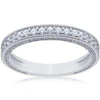 1/2ct Vintage Diamond Wedding Ring 14K White Gold Womens ...