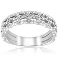 Vintage Diamond Ring Stackable White gold Wedding Ring ...