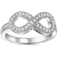 1/3Ct Diamond Infinity Ring 10K White Gold | eBay