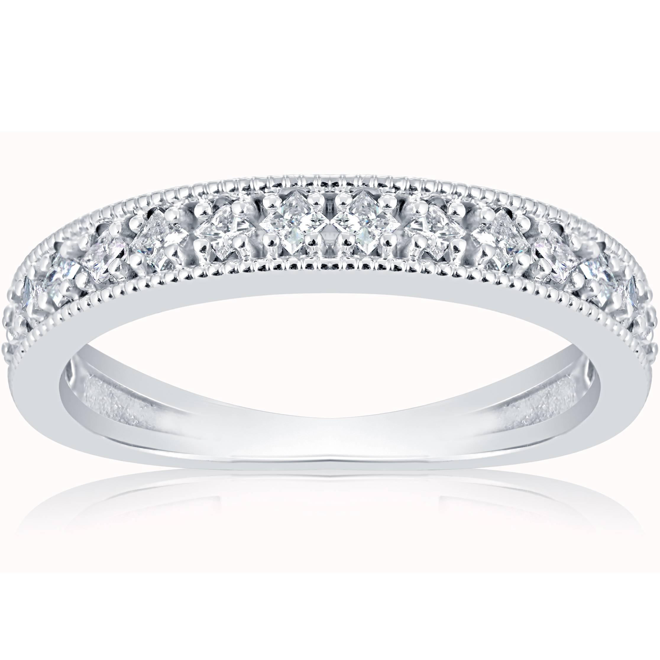 1/3ct Princess Cut Diamond Wedding Ring White Gold