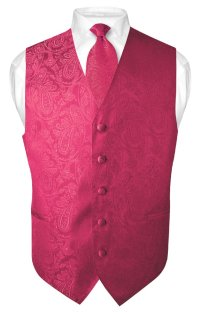 Men's Hot Pink Fuchsia Paisley Design Dress Vest and ...