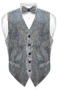 Men's SEQUIN Design Dress Vest Bow Tie SILVER Color BOWTie Set