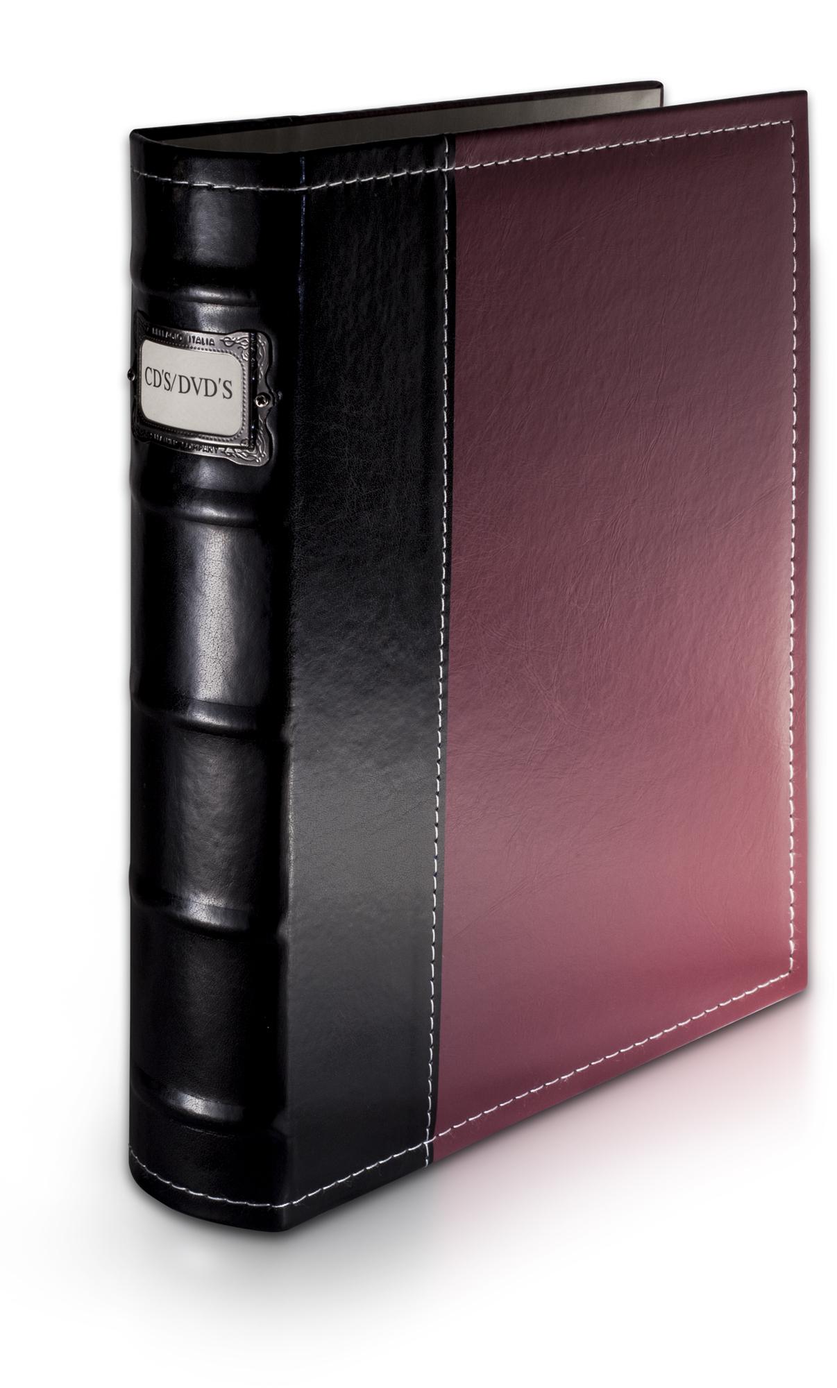 Bellagio Italia Burgundy Leather Cd Dvd Binder Holds 48