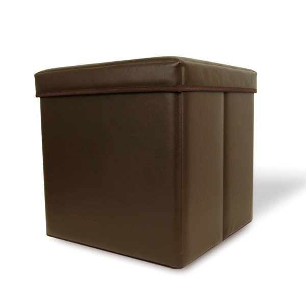 Collapsible Faux-leather Storage Ottoman Cube Brown