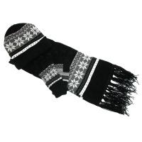 Women's Chenille Snowflake Hat Gloves and Scarf Set