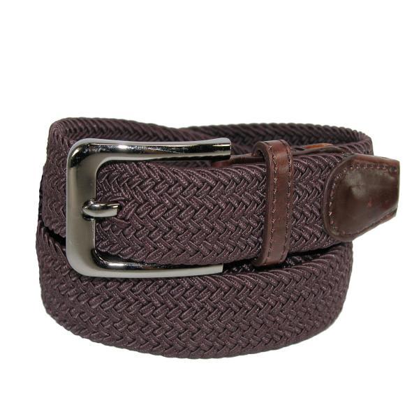 Ctm Men' Elastic Braided Stretch Belt With Silver