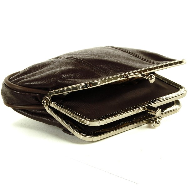 Leather Womens Wallet Metal Frame Coin Purse Id Credit