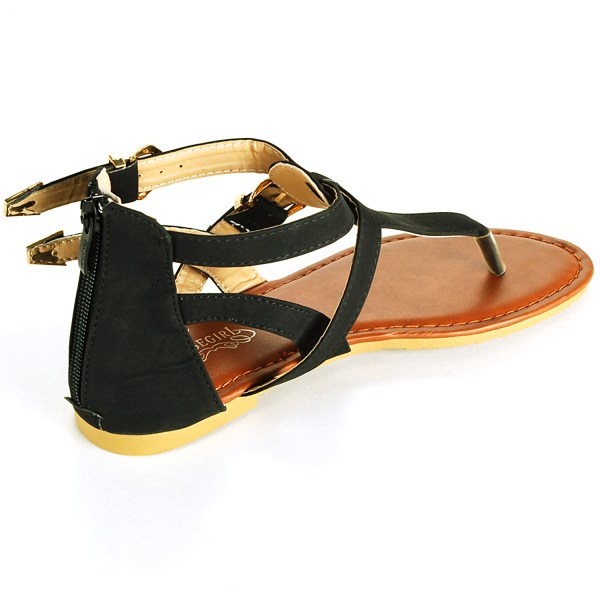 Womens Gladiator Sandals T-strap Thongs Roman Flats