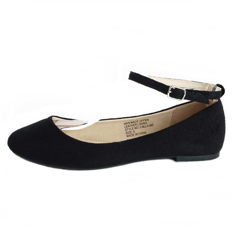 Black Mary Jane Flats Front