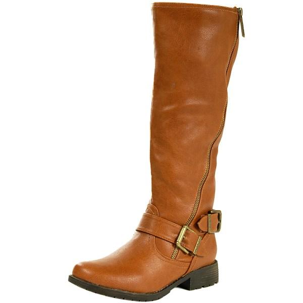 Womens Riding Boots Flat Heel Brass Zipper Faux Leather