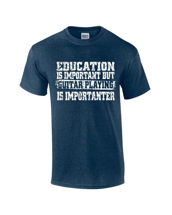 Funny Guitar T-shirt Education Important