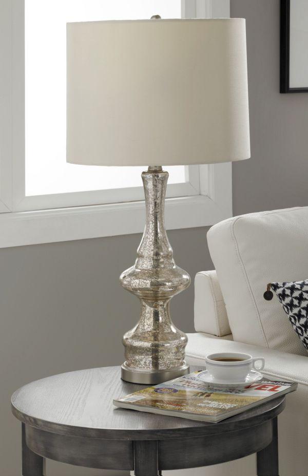 Hunt Elegant Mercury Glass Table Vintage Modern Lamp