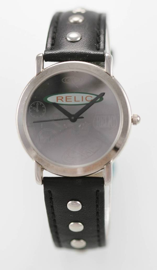 Relic Watch Men Stainless Steel Silver Black Leather Water
