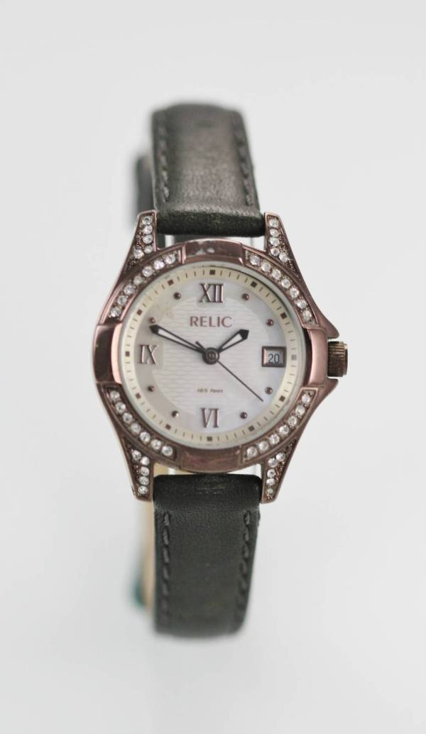 Relic Fossil Mop Womens Stainless Brown Black Leather Date