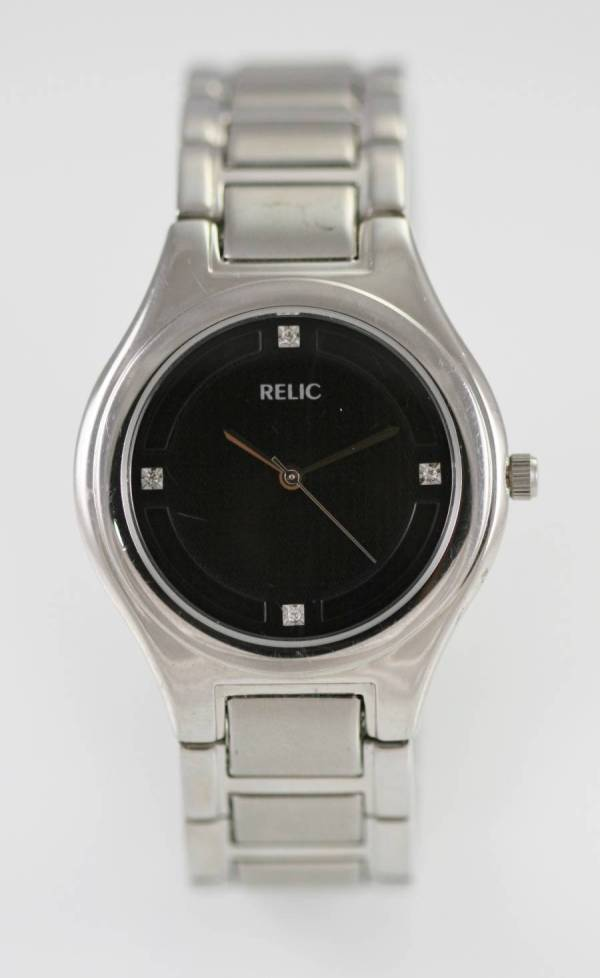 Relic Fossil Black Mens Stainless Steel Silver