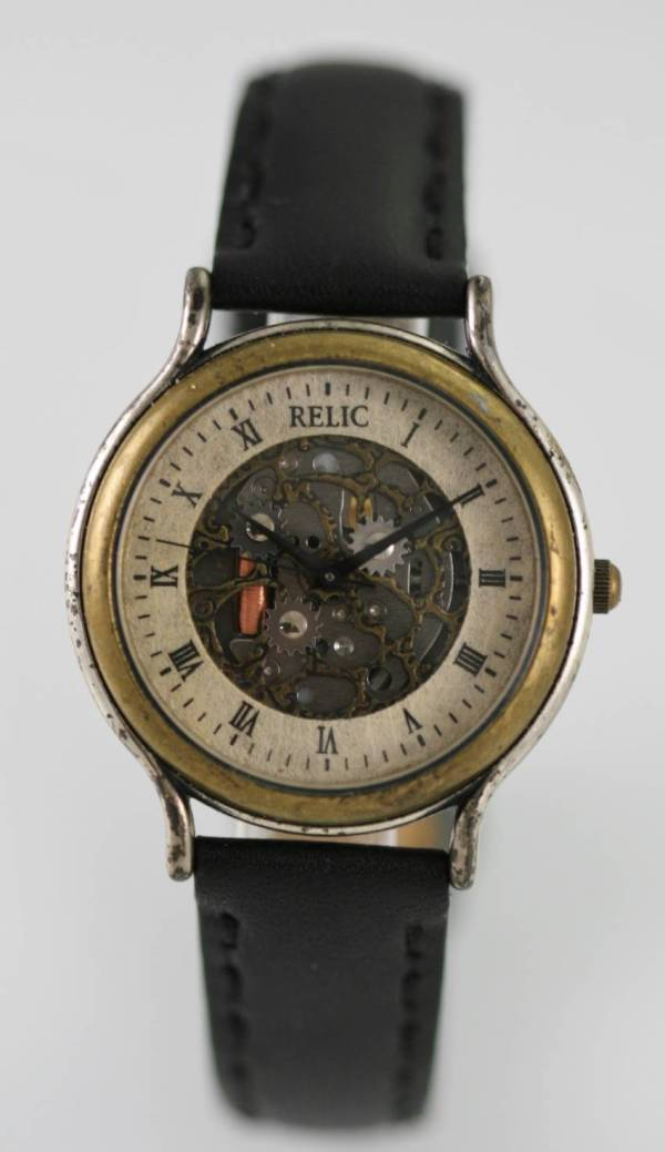 Relic Skeleton Mens Stainless Silver Gold Black Leather