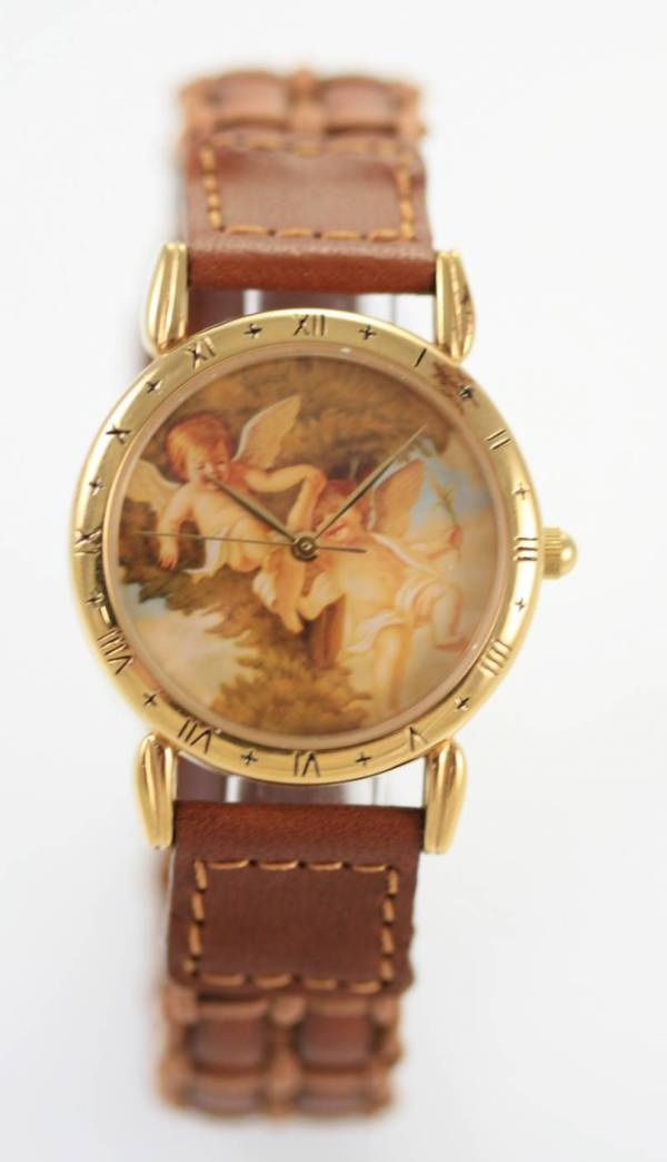Relic Angels Womens Brown Leather Stainless Gold Steel