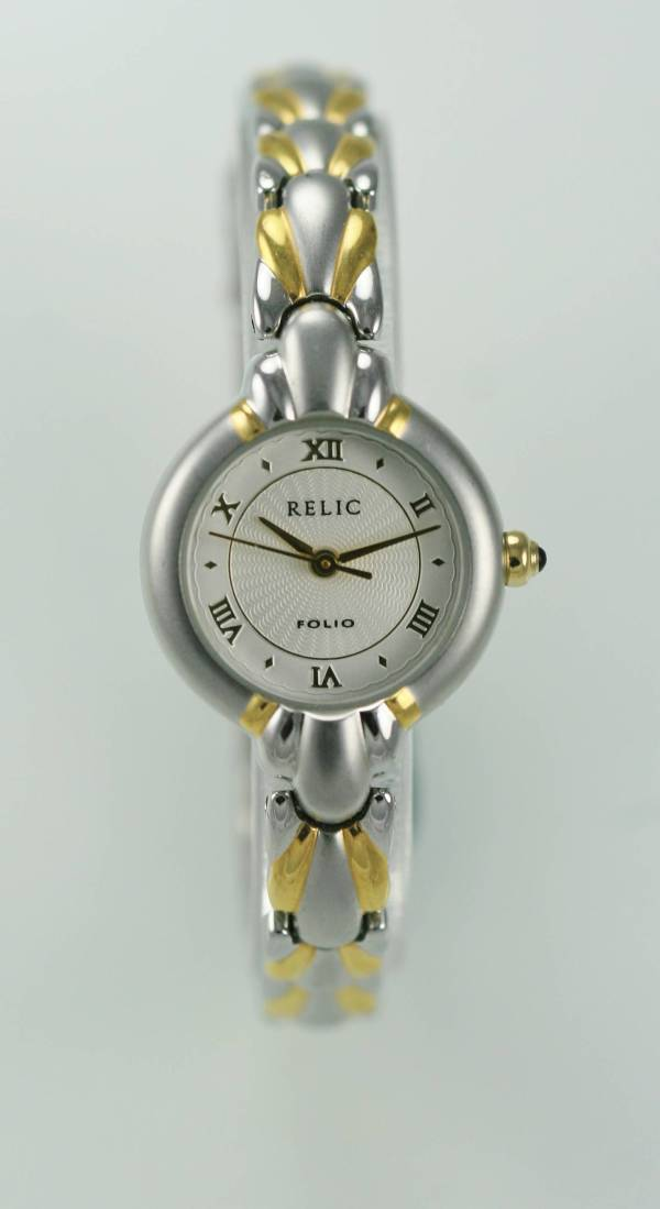 Relic Women' Stainless White Silver Gold Case Band Quartz