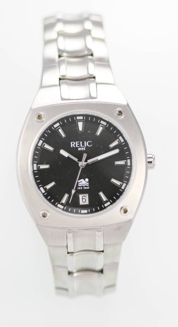 Relic Fossil Wet Men' Stainless Steel Silver Black