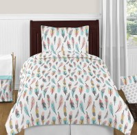 Modern Turquoise Blue Grey Gold Feathers Girls Teen Twin ...