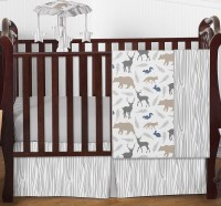 Sweet Jojo Designs Grey Deer Animal Outdoor Bumperless ...