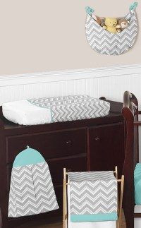Gender Neutral Chic Zig Zag Gray Blue Bumperless Baby Crib