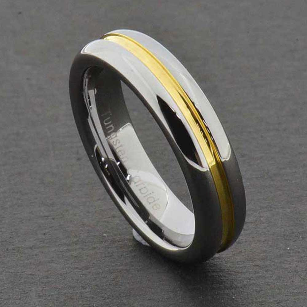 5mm Tungsten Carbide Grooved Gold Center Strip Shiny Edge
