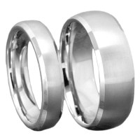 Silver Tungsten His & Hers Engagement Wedding Band Ring ...