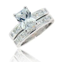 Emerald Cut Cubic Zirconia Sterling Silver Engagement ...
