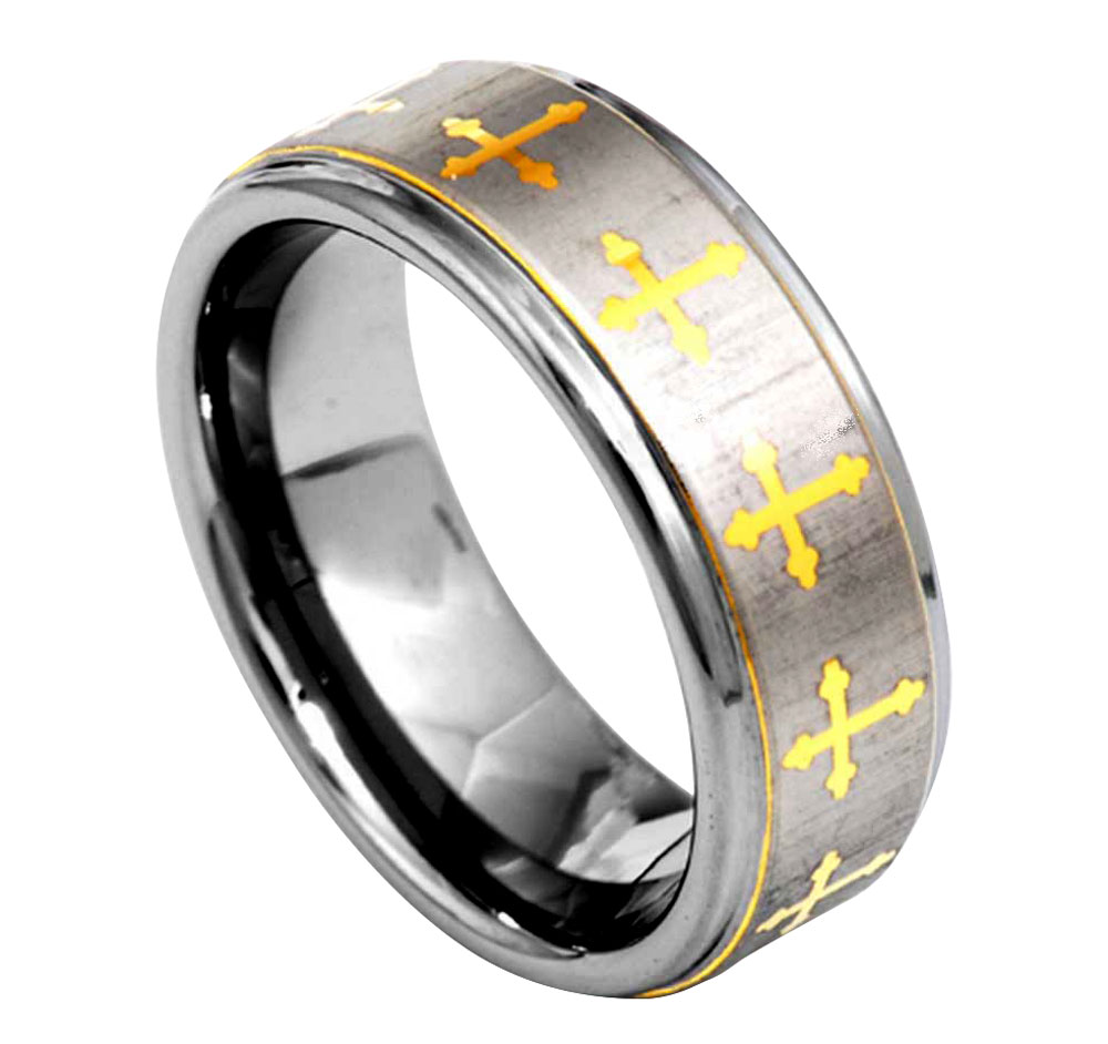 8mm Christian Cross Etch Brushed Step Edage Tungsten Carbide Mens Wedding Ring  eBay